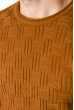 Джемпер с комбинированной вязкой 520F017 светло-коричневый