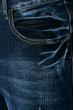 Джинсы мужские, с потертостями, прямые 708K004 темно-синий