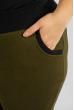 Брюки женские на флисе 120PAZN005 оливково-черный