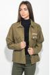 Куртка женская стильная, с нашивками 209V001 хаки