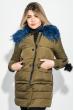 Куртка женская с отстегивающимся низом, крупный брелок на рукаве 315V001 хаки