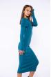 Платье вязаное с открытыми плечами 184P7045 бирюзовый