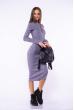 Платье вязаное с открытыми плечами 184P7045 серый