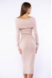 Платье вязаное с открытыми плечами 184P7045 песочный
