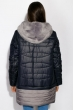 Куртка женская с меховым воротником 127P004 сине-серый