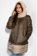 Куртка женская с меховым воротником 127P004 оливково-бежевый