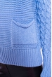 Свитер с крупной вязкой на рукавах 120PNA3036 голубой