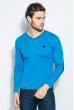 Пуловер мужской V-образный вырез 415F011 голубой