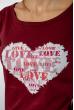 Футболка женская сердце love 85F288-3 бордовый