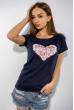 Футболка женская сердце love 85F288-3 темно-синий