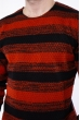 Свитер в полоску  192P6013 терракотово-черный