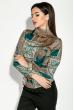 Блузка женская с узорами и длинным рукавом  81P1124 бутылочный , узоры