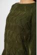 Свитер с ажурной вязкой  85F067 хаки