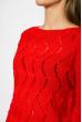 Свитер с ажурной вязкой  85F067 красный