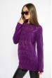 Свитер с ажурной вязкой  85F067 фиолетовый