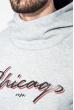 Толстовка мужская с капюшоном, с надписью 70PD5002 серый