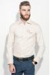 Рубашка мужская однотонная, с декором на груди 50PD0011-1 бежевый