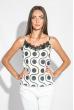 Майка-топ женская с кружевом на груди 212F055 бело-синий