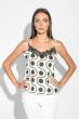 Майка-топ женская с кружевом на груди 212F055 бело-чернильный