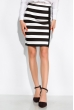 Классическая юбка в полоску 120PSE012-2 черно-белый