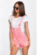 Модный женский джинсовый комбинезон 120PAML8170 розовый меланж