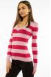Пуловер женский с V-образным вырезом 618F071 малиново-розовый
