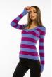 Пуловер женский с V-образным вырезом 618F071 сизо-сиреневый
