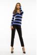 Пуловер женский с V-образным вырезом 618F071 сизо-черный