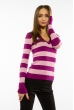 Пуловер женский с V-образным вырезом 618F071 сиренево-розовый