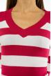 Пуловер женский с V-образным вырезом 618F071 малиново-белый
