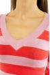 Пуловер женский с V-образным вырезом 618F071 кораллово-розовый