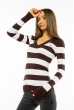 Пуловер женский с V-образным вырезом 618F071 шоколадно-белый