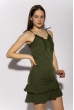 Платье с рюшами на юбке 103P006 хаки