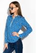 Блузка женская праздничная, легкая 64PD155 темно-синий-белый (горох)