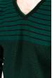 Джемпер c V-образным вырезом 520F020 черный / темно-зеленый