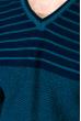 Джемпер c V-образным вырезом 520F020 бирюзовый / темно-синий