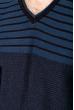 Джемпер c V-образным вырезом 520F020 темно-синий / джинс