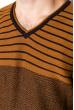 Джемпер c V-образным вырезом 520F020 темно-синий / светло-коричневый