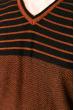 Джемпер c V-образным вырезом 520F020 терракотово-черный