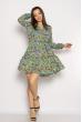 Платье в цветочек 632F012 бирюзовый