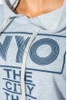 Костюм женский спорт с надписью 499F002 серо-синий