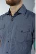 Рубашка в мелкую полоску 199P1418 серо-синий