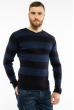 Пуловер в крупную полоску 619F1875 черно-синий