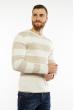 Пуловер в крупную полоску 619F1875 молочный / капучино