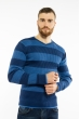 Пуловер в крупную полоску 619F1875 темно-синий / голубой