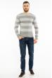 Пуловер в крупную полоску 619F1875 стальной-молочный