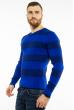 Пуловер в крупную полоску 619F1875 электрик / темно-синий
