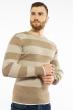 Пуловер в крупную полоску 619F1875 капучино-молочный
