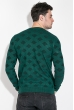 Свитер мужской с узором ромб 169V001 зелено-черный