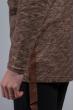 Кардиган с капюшоном мужской 46F093-2 кофейный меланж